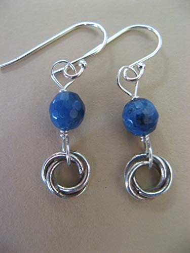 Blue Sodalite Gemstone Sterling Silver Earrings with Hill Tribe Love Knot Rings Artisan Jewelry -