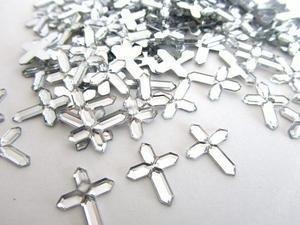 50pc Crystal Clear Acrylic Cross Rhinestone Jewel (E59) US Seller Ship Fast