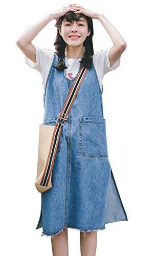 免除する霧深い雑品[ジャング] サスペンダースカート デニム Aライン ロング ゆったり 体型カバー オールインワン レディース