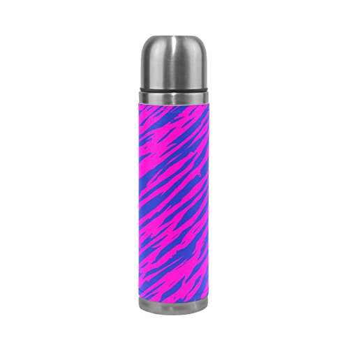 - Blue and Pink Zebra Print Double Wall Stainless Steel Water Bottle Vacuum Insulated Leak Proof Thermos Flask 17 Oz Genuine Leather Cover