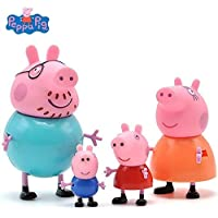 OrginSoft Peppa Pig Toys Family Pack for Kids with Free 12 Peppa Stickers. Action Figure 9cm and 5.8cm (Multi Colour) Set of 4
