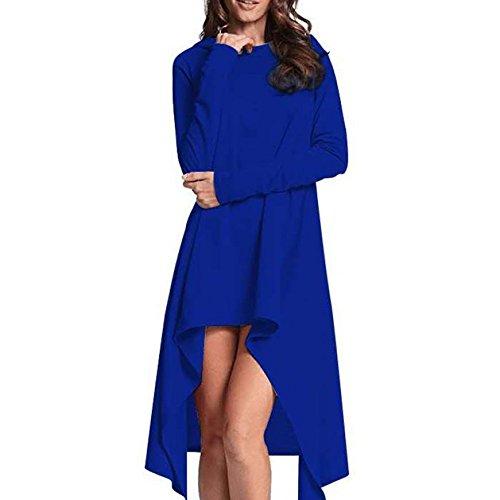 Estate Sfusi Maniche Con Abiti Blue Cappuccio Lunghe Junhongzhang Solidi Donne Partito Dress Casual Donna La Irregolari Molla Maglietta Felpa HqC6Pz
