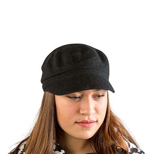 8317e66a7ece4 AUGUST HAT COMPANY Women s Black Classic Lightweight Multi-Season Melton  Modboy Hat