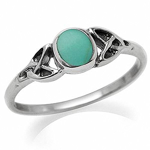Turquoise Inlay 925 Sterling Silver Celtic Knot Ring Size 6