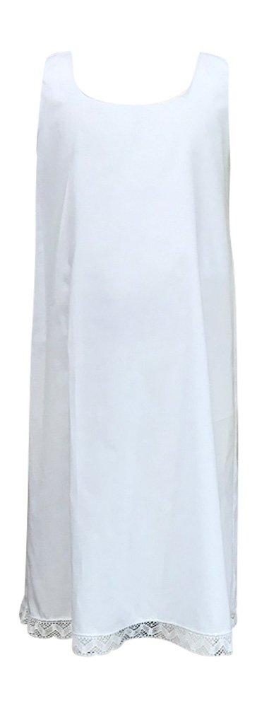 Girls Cotton Slip Sleeveless with bottom lace trim Handmade,White,4