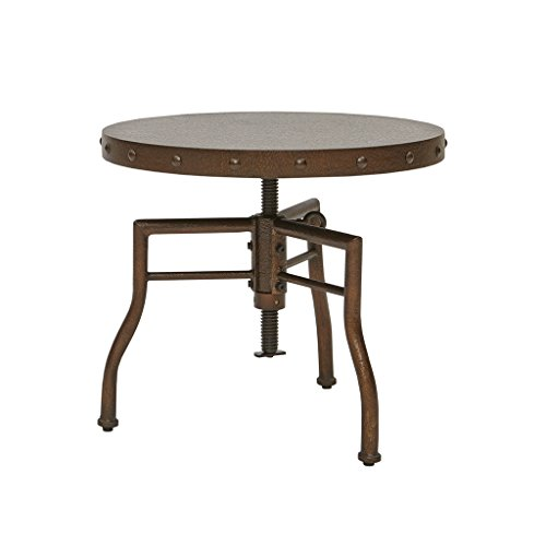 Industrial 21 inch Hammered Bronze Round Accent End Table wi