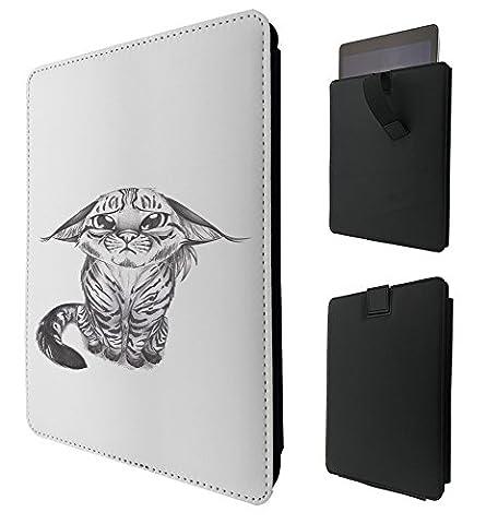 C0912 - Cute Sad Kitten Black And White Tiger Face Wildlife For All ipad 2 3 4, ipad Air 1, ipad Air 2, ipad Pro 9.7