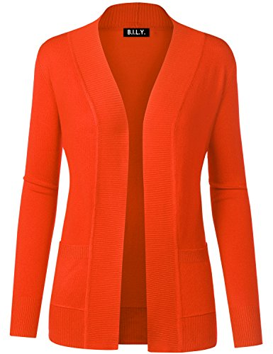 (BH B.I.L.Y USA Women's Open Front Long Sleeve Classic Knit Cardigan Orange Small)