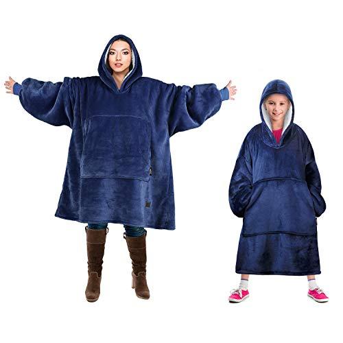 Tirrinia Blanket Sweatshirt, Super Soft Warm Comfortable Sherpa Hoodie with Giant Pocket, for Adults, Kids, Boys, Girls, Reversible, Hood, Oversized, Blue
