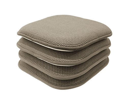 GoodGram 4 Pack Non Slip Honeycomb Premium Comfort Memory Foam Chair Pads/Cushions - Assorted Colors (Taupe) by GoodGram