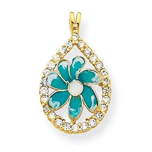 10 k fleur en zircone cubique et pendentif en forme de goutte de qualité supérieure-Or Or JewelryWeb 9 carats