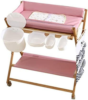 おむつ 交換台 ピンク折りたたみ赤ちゃんおむつ替えパッド付きテーブル、保育園ベビードレッサー木製収納風呂浴槽ユニットステーション付きホイール