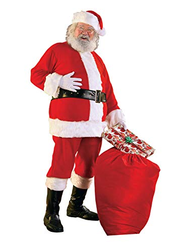 Rubie's Flannel Santa Suit with Beard and Wig, Red/White, Standard -