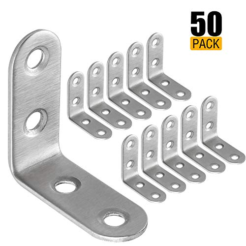 Eliseo 50 Pack Stainless Steel 90 Degree Angle L Shaped Bracket,Corner Brace Joint Bracket Fastener, 40mm x 40mm x 16mm, Silver Tone, Round End, 4 Holes, Heavy Duty Metal by Eliseo