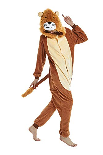Unisex Adult Pajamas Lion Animal Fleece Pajamas Onesies Cosplay Costume Halloween Party Wear L (Height:5'7''-5'10''/170cm-178cm)