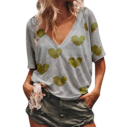 - 〓COOlCCI〓Women Summer Casual V-Neck Heart Print Blouse Tie Knot Short Sleeve Tops Loose Fitting Bat Wing Shirts Gray