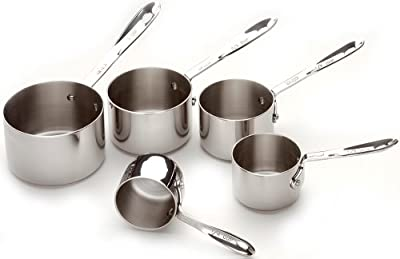 All-Clad 59917 Stainless Steel Measuring Cups Cookware Set, 5-Piece, Silver