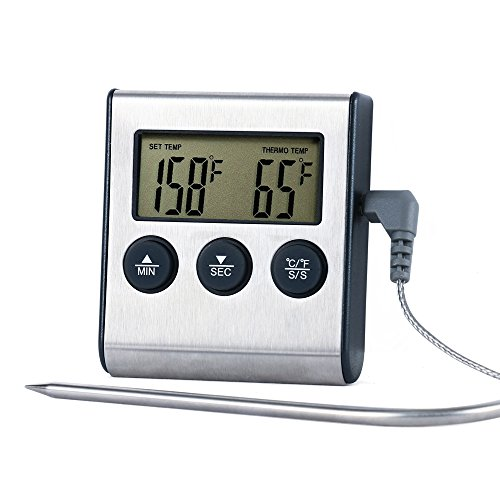 Cheap UINSTONE Digital Cooking Kitchen Food Meat Thermometer for BBQ Oven Smoker Built-in Clock Time...