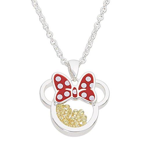 Disney Birthstone Women and Girls Jewelry Minnie Mouse Silver Plated November Amber Citrine Swarovski Cubic Zirconia Shaker Pendant Necklace, 18+2