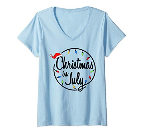 Womens Merry Christmas In July Funny Santa Xmas Party Gift V-Neck T-Shirt