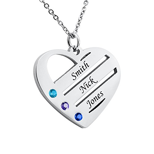 Personalized Heart Family Name Necklace with Birthstone Stainless Steel Custom Made with 3 Names,Silver Tone