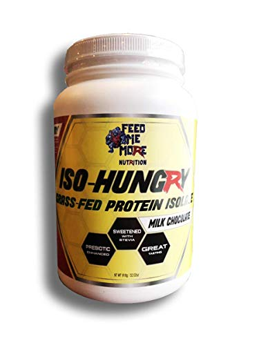 ISO-Hungry 1 Natural Grass Fed Stevia Whey Protein Powder Great Tasting Chocolate, 2lb 30 Servings Low Carb Keto Friendly