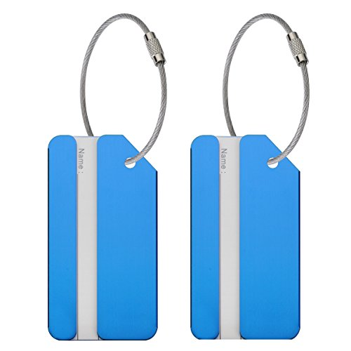ONUPGO 2 Pack Metal Luggage Tags Travel Suitcase Luggage ID Identifier Tags