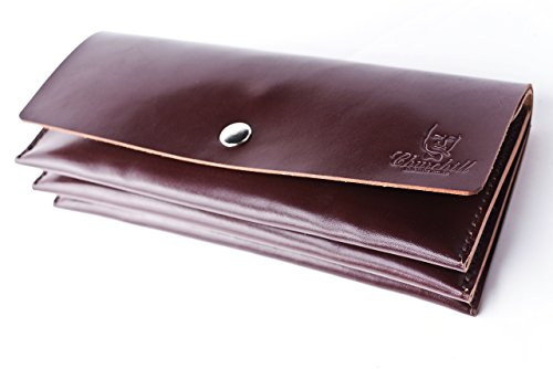 for Brown leather Italian tanned wallet Leather button Handmade veg men with xwv6n7q1