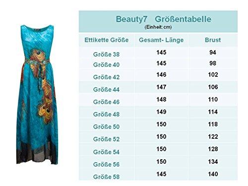 Beauty7 Böhmen Stil Armlos Strandkleider Rundhals Langes Sommerkleider  Maxikleider mit Pfau Feder Motiv Abendkleid Cocktailkleid Partykleid Plus  Size ... 5c2d33323a