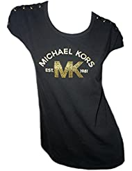 Michael Kors Womens Black Cap Sleeve Cotton T Shirt MK EST 1981 Gold Studded Logo