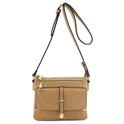 Taupe Crossbody Pocket Compartment Bag Flap Double XxCvgqww