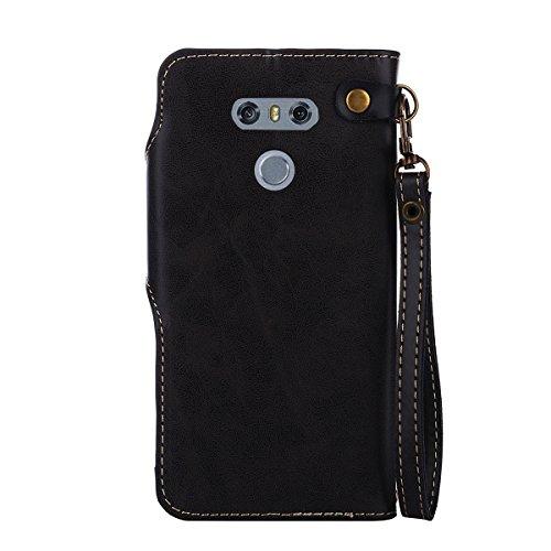 MEIRISHUN Leather Wallet Case Cover Carcasa Funda con Ranura de Tarjeta Cierre Magnético y función de soporte para LG G6 - Caqui Negro