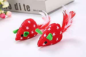 Polykor Useful Durable Christmas Mouse Pet Cat Chew Training Toy with Catnip(Red)