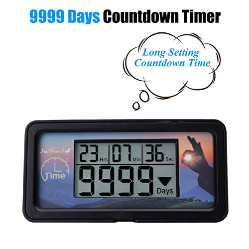AIMILAR Digital Countdown Days Timer - 9999 Days Count Down Days Timer With Backlight for Retirement Wedding Vacation Christmas New Baby Classroom Lab Kitchen Cooking (Black) by AIMILAR (Image #2)