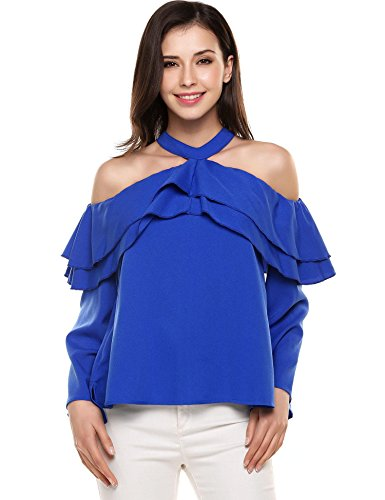Shoulder Ruffle Long Sleeve Halter Neck Shirt Blouse Tops (Nylon Ruffled Blouse)
