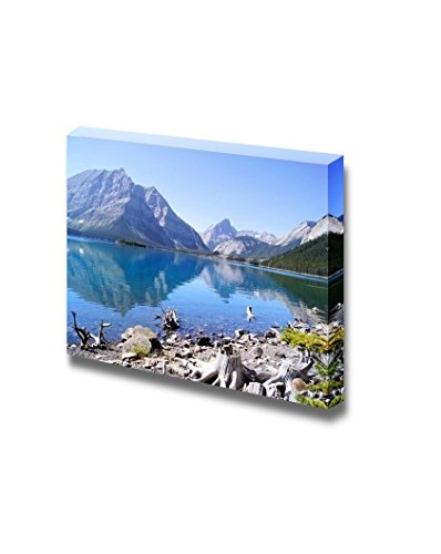 Landscape View of the Kananaskis Lakes in the Canadian Rockies with Mountain Reflecting in Cool Blue Waters Wall Home Décor 32 W x 48 L