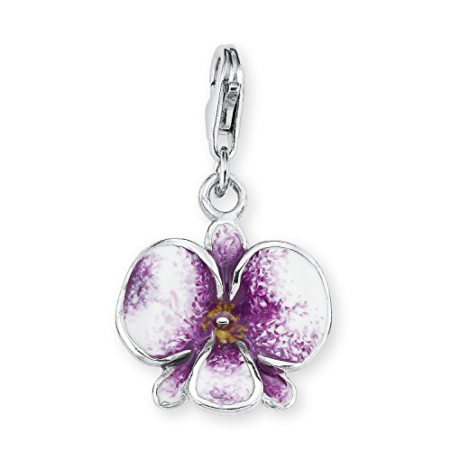 s.Oliver Damen-Charm 925 Sterling Silber Orchidee Länge ca. 14 mm 393423