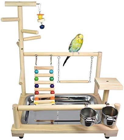NO BRAND Soporte pájaro, Piscina de Madera, Zona de Juegos Cerca, Columpio muñeca, Escalera, Comer Taza y aleación de Aluminio Neutro Birdcage Soportes: Amazon.es: Hogar