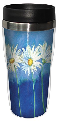 Tree-Free Greetings 25585 Nel Whatmore Daisies on Blue Sip 'N Go Stainless Lined Travel Mug, 16-Ounce - Daisy Coffee Cup