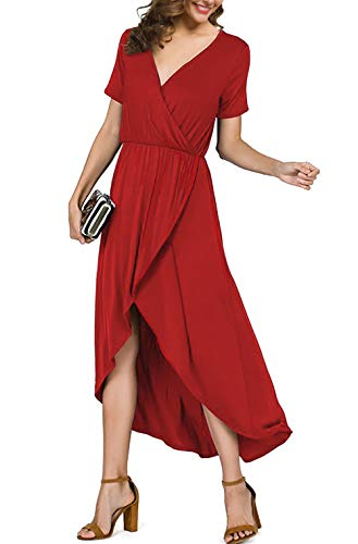 PrinStory Wrap Maxi Dress Short Sleeve V Neck Slit High Low Women Summer Beach Party Wedding Dress Red US-L