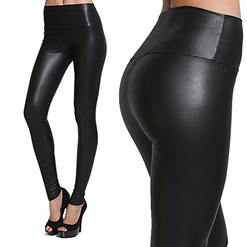 Tagoo Women Thick Slim High Waisted Faux Pu Leather Black Leggings (Black Faux Leather)