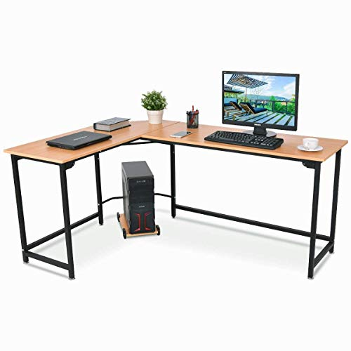 TANGKULA Computer Desk L-Shaped Corner Writing Table Smooth Top Home Office Workstation Modern Study Laptop Desk with CPU Stand (Natural) by TANGKULA
