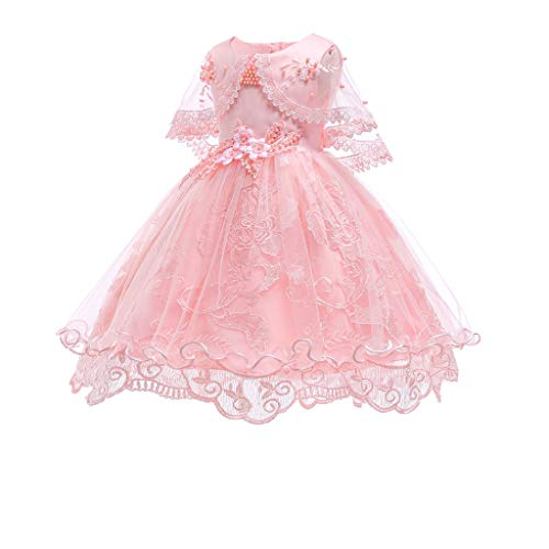 Doublelift Floral Baby Girl Princess Floral Lace Gown Birthday Party Wedding Dress ()