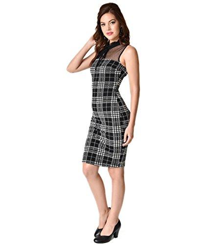 - Unique Vintage 1960s Style Black & White Plaid Keyhole Knit Sheath Dress