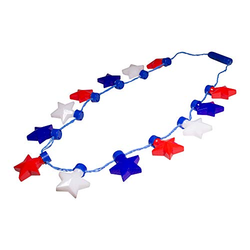 Red White And Blue Glow Necklaces - Fun Central LED Flashing Patriotic Stars