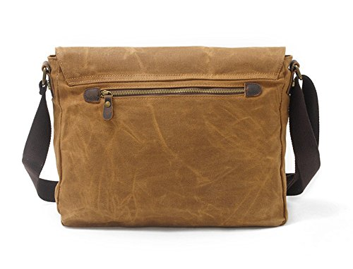 Leather With Camping Cloth Travel Crossbody Bags noir Waterproof Vintage Bag Shoulder Oil Outdoor Casual Bag Bag NONGNIML Men Khaki Shopping Messenger Bag Canvas Wax RFqaKwvzgx