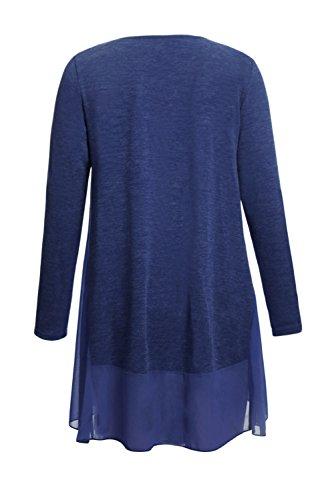Neuf Bleu en mousseline de soie Hemline Splice Chemisier à manches longues de soirée pour femme Tenue décontractée dété Taille UK 8EU 36