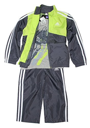 Adidas Boys 3-piece Athletic Windsuit Bright Green, 6 ()