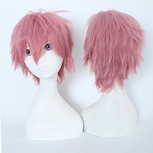 Pink Cosplay Synthetic Wig fot Women 20 Styles Anime Wig with Bangs Short Layered Fluffy Hair Oblique Fringe Full Head Unisex +Stretchable Elastic Wig Net for Man and Women (Dark Pink)