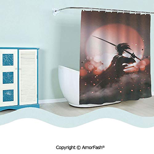 (SCOCICI Printed Floral Fabric Shower Curtain Set with 12 Hooks Bath Curtains,72 x 84 inches,Japanese,Reflection of A Samurai Practicing Hazy Sunset Background Free from Death Concept,Pink Purple)